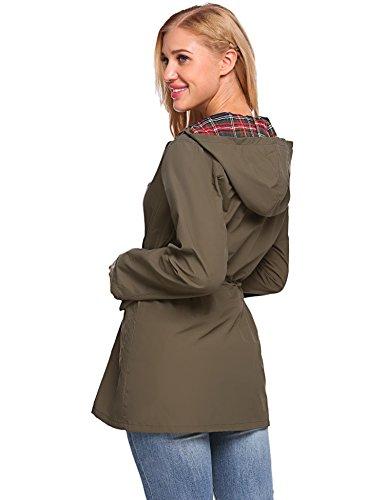 Cooshional Winddicht Regenjacke Damen Armee Atmungsaktiv Übergangsjacke Grün Jacke Wasserdicht