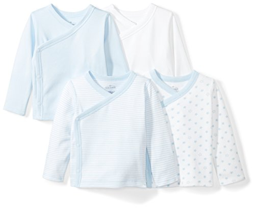 Moon and Back Baby Set of 4 Organic Long-Sleeve Side-Snap Shirts, Blue Sky, 0-3 Months