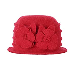 Prefe Women 100% Wool Felt Round Top Cloche Hat Fedoras Trilby With Flower (Red, Free)