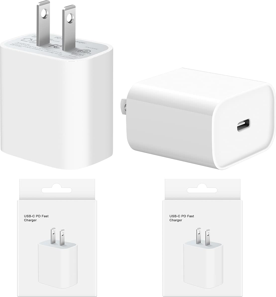 iPhone Fast Charger [2 Pack] 20W USB C Wall Charger PD 3.0 Adapter for iPhone 12/12 Mini/12 Pro/12 Pro Max/11 pro max, iPad Pro 2020, Google Pixel 4/3, Samsung Galaxy S10 S9 and More