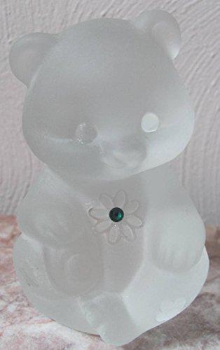Fenton Sitting Bear Sand Carved Swarovski Gemstone Crystal Mist Solid Glass - Rosso OOAK - USA (Fenton Crystal Bear)