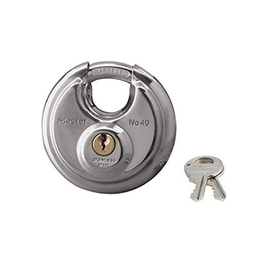 4 Pack Round Padlock with Shielded Shackle, 2-3/4-Inch, Stainless Steel Steel Armor for Trailer Storage Truck Silver