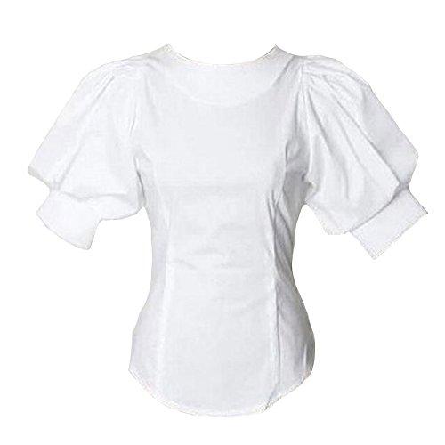 - Puff Short Lantern Sleeve Blouse for Women Round Neck Tops Female White Shirt