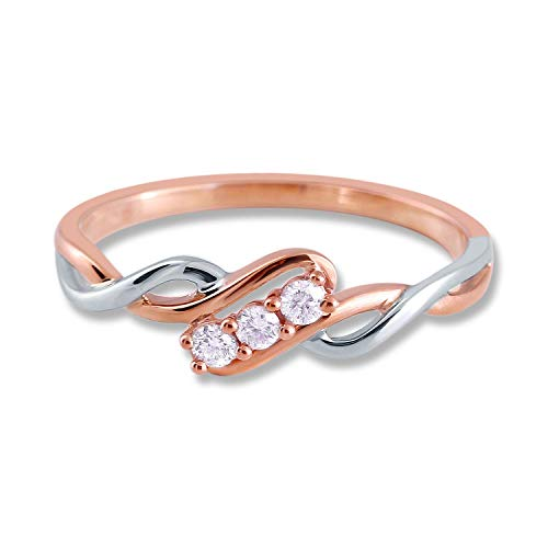 1/10 CTTW Two Tone Weave Diamond Ring in 10K Gold