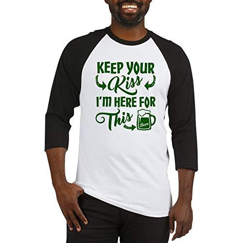 CafePress Keep Your Kiss Funny Irish Baseball Jersey Cotton Baseball Jersey, 3/4 Raglan Sleeve Shirt Black/White
