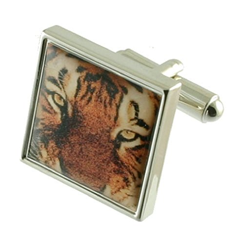 Tiger Cufflinks Solid Sterling Silver 925 + Personalised Engraved Message Box by Select Gifts