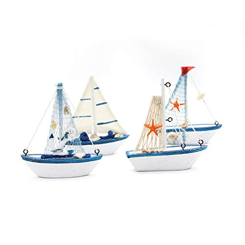 Monrocco Pack of 4 Mediterranean Rustic Wooden Sailing Boat Home Decor Set Sailboat Model Decoration Home Décor Table Desk Display Ornament