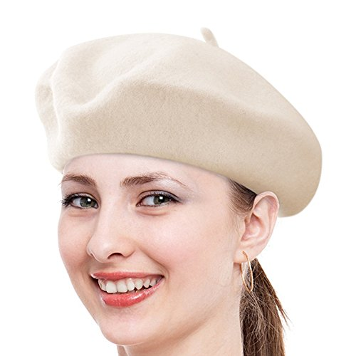 [Classic French Beret, FuzzyGreen White Solid Color French Wool Beret - 2017 Newest] (Beatnik Costumes Ideas)