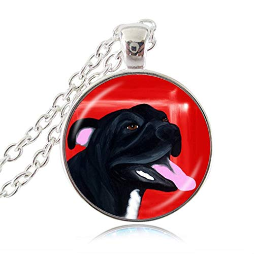 Pit Bull Dog Necklace American Pitbull Terrier Pet Puppy Rescue Pendant Bulldog Jewelry for Animal Lover Accessories ()