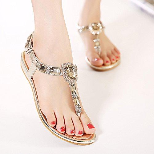 Scothen Señoras de Bohemia flip flop zapatos Rhinestone moldeados planas de la correa las sandalias del tobillo de los zapatos zapatillas verano de playa romana Trenzado T-Correa Gladiador Dorado