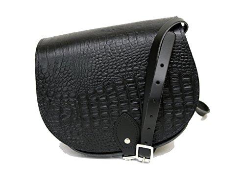 Schwarz Krokodil-Musterer Leder Sattel Crossbody Handtasche mit Schnalle und verstellbarem Riemen