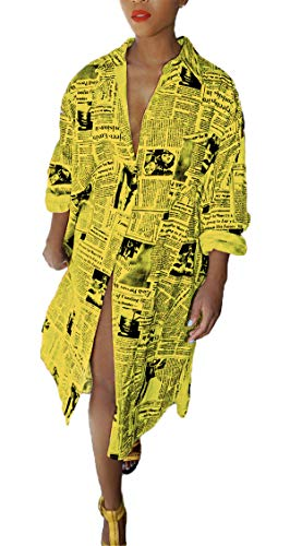 Antique Style Women's Summer Autumn Casual Oversized Deep V-Neck Long Sleeve Newspaper Printed Loose Button Down Basic Polo Shirts Irregular Party Club Dress Yellow XL]()