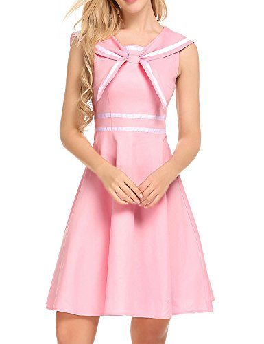 Zeela 1940s Vintage Casual Style Cute Back Pullover Fit and Flare Sailor Moon Dress S-XXL