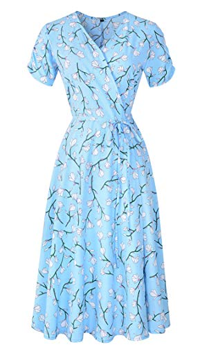 - KurKuva Women's Wrap Dress V-Neck Short Sleeve Bohemian Floral Print Flowy Midi Dress Light Bule-Flower Medium