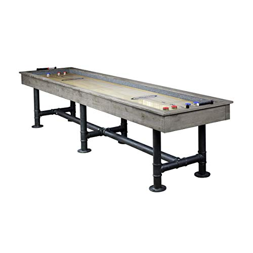 Shuffleboard Table 12 ft - Indoor Shuffle Board Game Table Industrial Grey Wood, Steel Legs, Silver Mist Finish, Includes Playing Accessories - for Home Gaming & Game - Gray Mist Finish