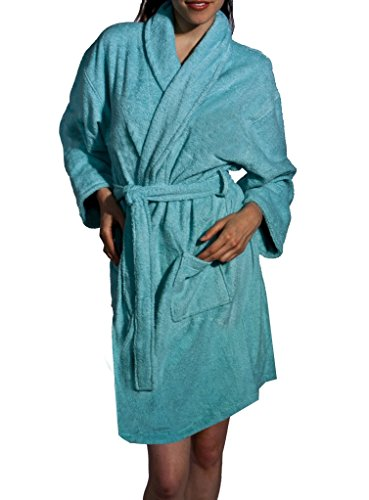 3ff55e2eee Aegean Apparel Women s Short Solid Terry Loop Robe in Turquoise