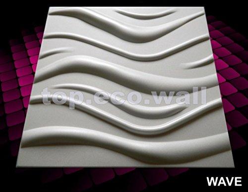 Fliesen, 3D-Optik, für Wand / Decke, Polystyrol, Fliesen, 24 Stück (6 m², Wellen, 3D)