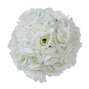 "SODIAL(R) 8""(20cm)Wedding Decorations Artificial Rose Silk Flower Ball Centerpieces Mint Decorative Hanging Flower Ball Wine( creamy-white) 36"