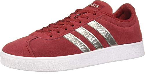 adidas Women's VL Court 2.0 Sneaker, Active Maroon/Platinum Metallic/White, 7.5 M US (Adidas Women Shoes Gazelle)