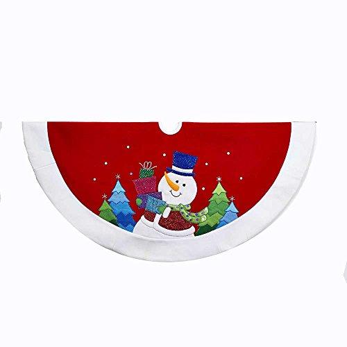 - Kurt Adler 48-Inch Red and White Velvet Glitter Applique Snowman Treeskirt