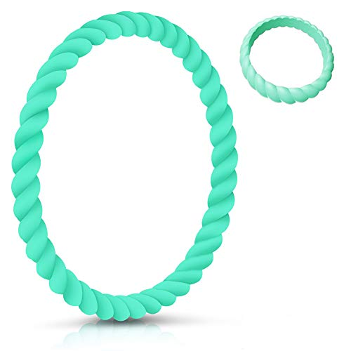 SZHSR Braided Silicone Wristbands, 7.5 in Rubber Bracelets Fashion Sports Wristbands for Fitness Workouts for Girls & Women(Turquoise)