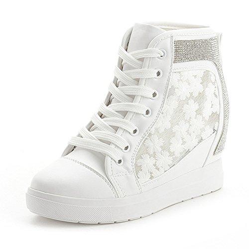 BERTERI Women Wedge Sneaker Hided-Heel Platform Increased height, White/Black