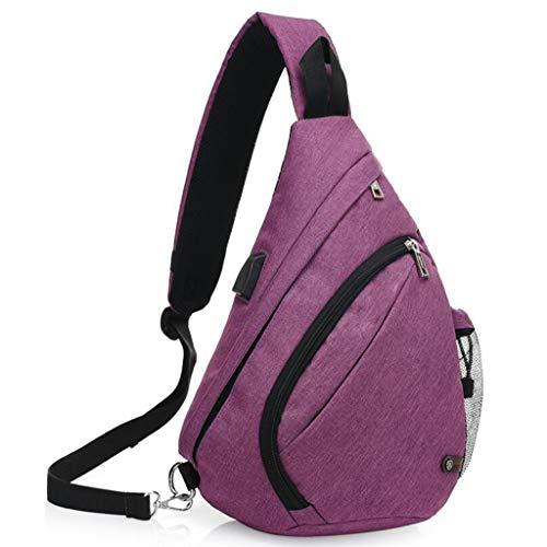 Dafrew colore di per Shoulder Backpack Viola Sling Bag Outdoor bicicletta andare grigio USB ricarica camminare Crossbody Con porta in qC1gwq