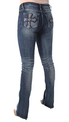 Miss Me Women's Embellished Cross Pocket Boot Cut Denim Jean, Medium Blue, 28 by Miss Me (Image #3)