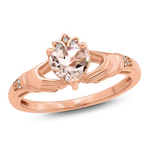 (Jewel Monk 10K Rose Gold 5/8 Carat Round-Cut (I-J Color, I2-I3 Clarity) Natural Diamond Ring for Women, US Size 7)