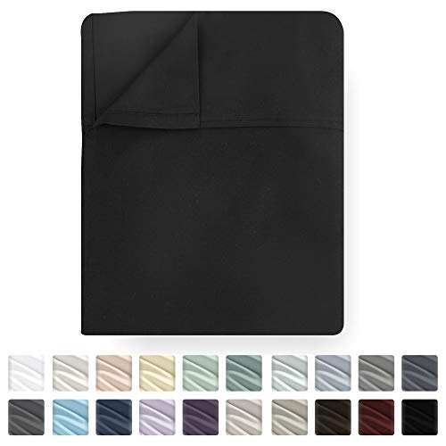 Black Flat Sheet Only - Full Size 400 Thread Count Luxury Soft 100% Cotton Sateen Weave Bedding - Best Hotel Quality All Season Top Flat Sheet for Bed, Lightweight and Breathable