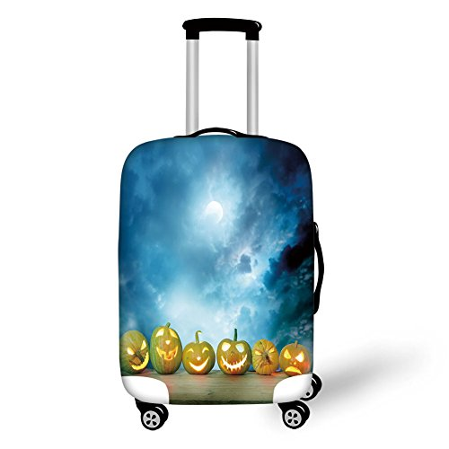 Travel Luggage Cover Suitcase Protector,Halloween,Spooky Halloween Pumpkins on Wood Table Dramatic Night Sky Print Decorative,Dark Blue Light Blue Yellow,for -