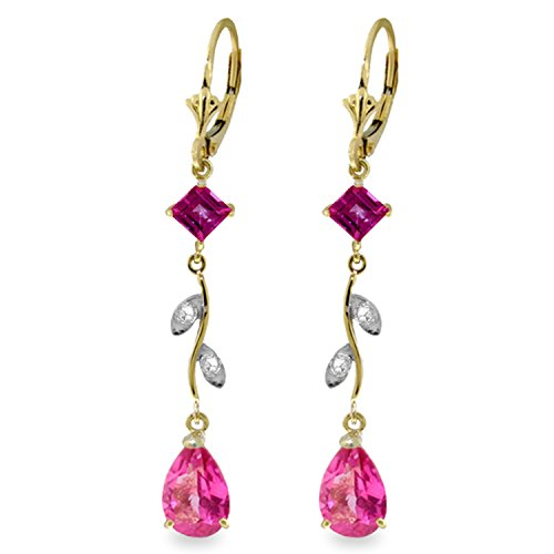Garnet & Pink Earrings Topaz (3.97 Carat 14K Solid Gold Chandelier Earrings Diamond Pink Topaz)