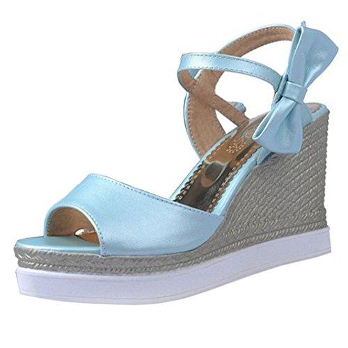 COOLCEPT Zapato Mujer Moda Comodo Tacon de Cuna Sandalias Punta Abierta Peep Toe Chunky Al Tobillo Walking Zapatos Azul