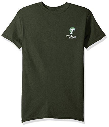 NCAA Tulane Green Wave Adult NCAA Herringbone Short sleeve,XXL,Forest Green (Tulane Green World)