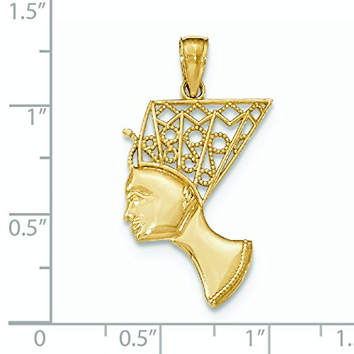 Profil 14 Carats Pendentif Nefertiti Epouse Royale Egypte JewelryWeb