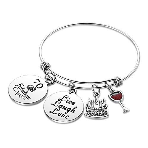 Nimteve Birthday Gifts for Her Expandable Bangle Birthday Bracelets for Women Charm Bracelet Happy Birthday Jewelry Gift Ideas (70th Birthday)