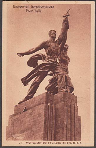 Moukhina Sculpture USSR Pavilion Paris Exposition Universelle postcard 1937