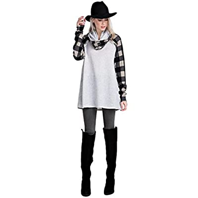 Discount 12pm by Mon Ami Women's French Terry Cowl Neck Tunic With Plaid Contrast Sleeves