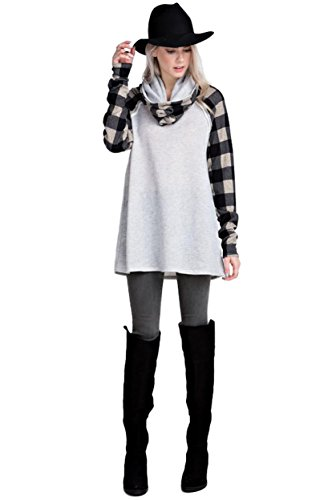 12Pm By Mon Ami Womens French Terry Cowl Neck Tunic With Plaid Contrast Sleeves  Medium  Heather Grey
