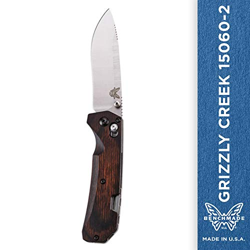 Benchmade - Grizzly Creek 15060-2 Knife, Drop-Point Blade, Plain Edge, Satin Finish, Wood Handle