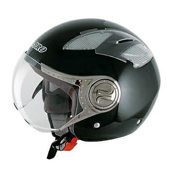 Demi Jet casco Moto Visera Pantalla Avio ECE 22-05 Custom Scooter Moto Negro XS