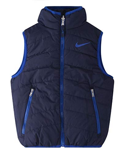 Nike Little Boys' Reversible Logo Puffer Vest - 2T - Navy/Gray (Nike Boy Coat)