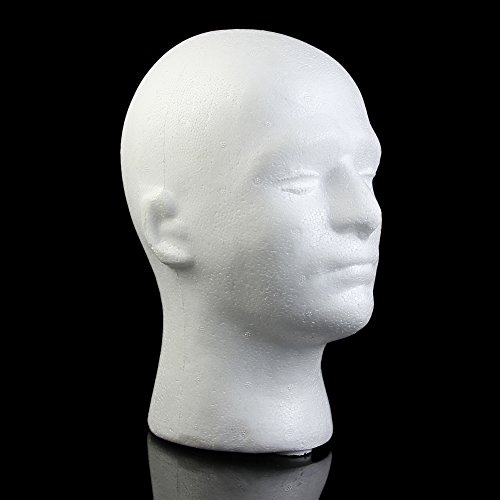 MEXUD Male Mannequin Styrofoam Foam Manikin Head Model Wig Glasses Hat Display Stand