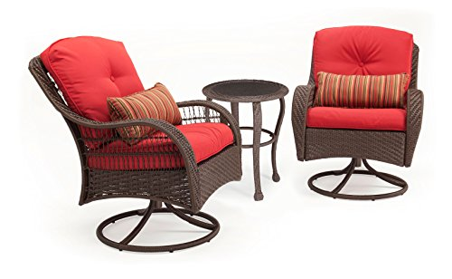La-Z-Boy Outdoor Bristol Resin Wicker Bistro Patio Furniture Set (Scarlet Red, Wicker, 3 Piece): Two Swivel Chairs and Bistro Side Table, With All Weather Sunsharp Cushions For Sale