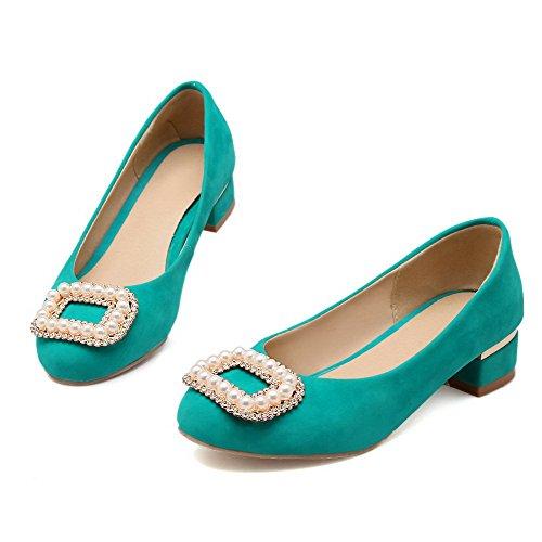 AllhqFashion Damen Ziehen auf Niedriger Absatz Nubukleder Eingelegt Rund Zehe Pumps Schuhe See Blau