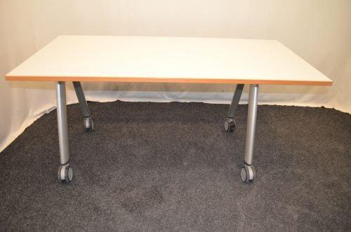 Mesa de escritorio, 140 x 80 cm, con ruedas, de madera de haya ...