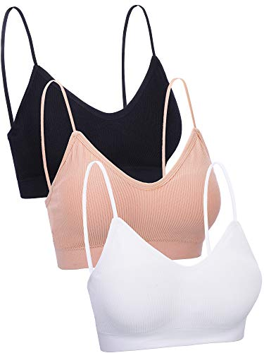 Boao 3 Pieces V Neck Tube Top Bra Seamless Padded Camisole Bandeau Sports Bra Sleep Bra with Elastic Straps (One Size, Color Set 2)