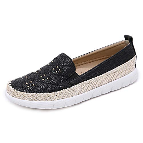 CYBLING Women's Espadrilles Loafers Quilted Casual Flats Slip on Walking Driving Shoes Black