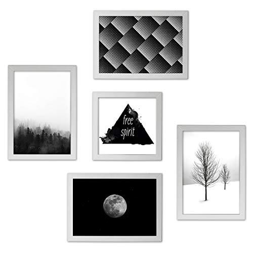 Conjunto Quadros Decorativos Preto e Branco Moldura Branca 74x74cm - Prolab Gift