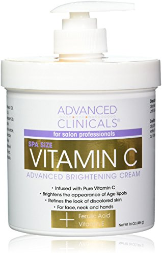 Advanced Clinicals Vitamin C Cream. Advanced Brightening Cream. Anti-aging cream for age spots, dark spots on face, hands, body. (Two - 16oz)